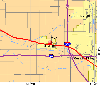 Tiffin, IA (52340) map
