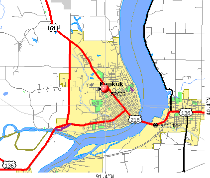 Keokuk, IA (52632) map