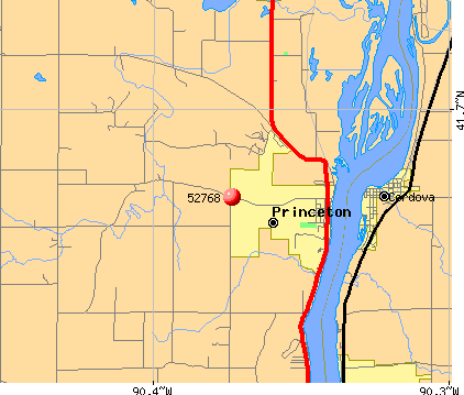 Princeton, IA (52768) map