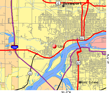 Davenport, IA (52802) map