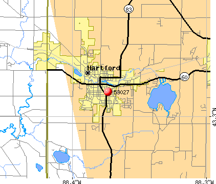 Hartford, WI (53027) map