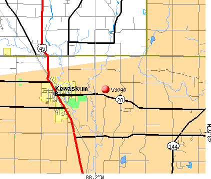 Kewaskum, WI (53040) map