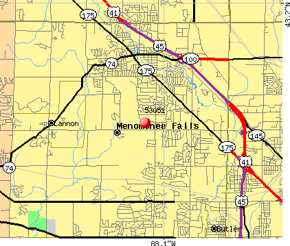 Menomonee Falls, WI (53051) map