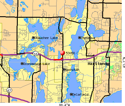 Chenequa, WI (53058) map