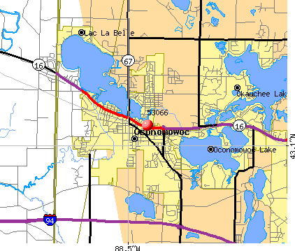 Oconomowoc, WI (53066) map
