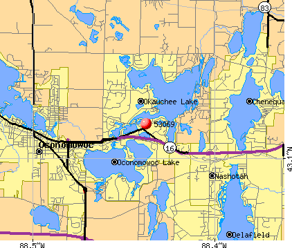 Okauchee Lake, WI (53069) map