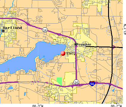 Pewaukee, WI (53072) map