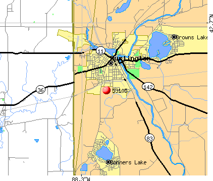 Rochester, WI (53105) map