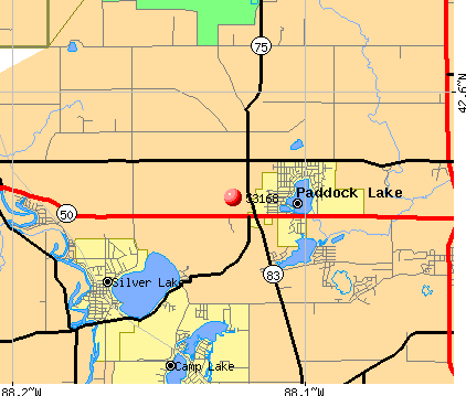 Paddock Lake, WI (53168) map