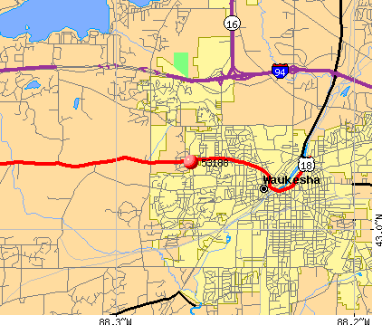 Waukesha, WI (53188) map