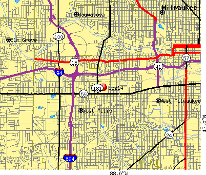 West Allis, WI (53214) map