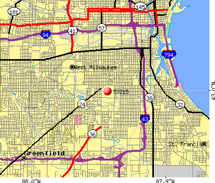 Milwaukee, WI (53215) map
