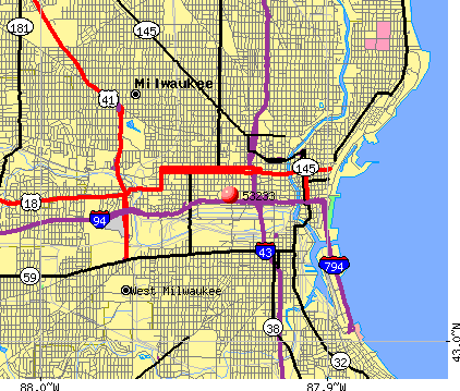 Milwaukee, WI (53233) map