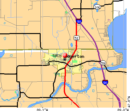 Edgerton, WI (53534) map