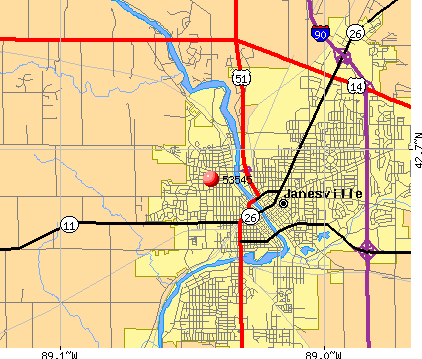 Janesville, WI (53545) map