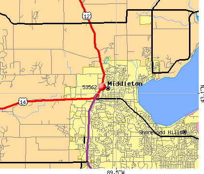Middleton, WI (53562) map
