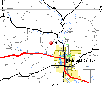 Richland Center, WI (53581) map