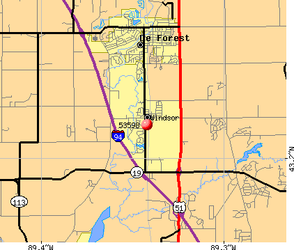 Windsor, WI (53598) map