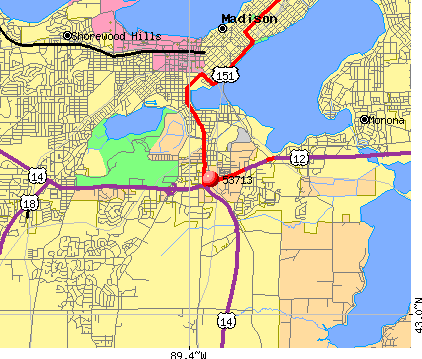 Madison, WI (53713) map