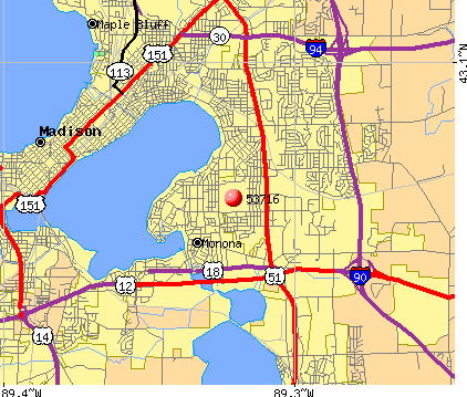 Madison, WI (53716) map