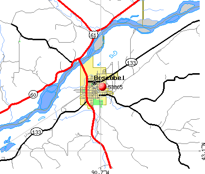 Boscobel, WI (53805) map