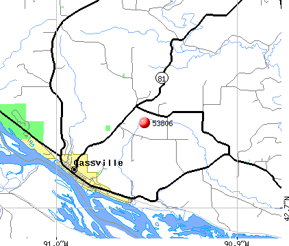 Cassville, WI (53806) map
