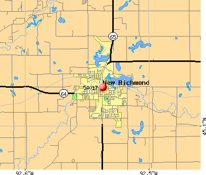 New Richmond, WI (54017) map