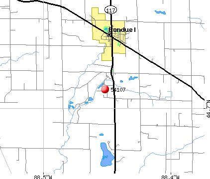 Bonduel, WI (54107) map