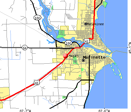 Marinette, WI (54143) map. Nearest zip codes: 49858, 54157, 54159, 49893,