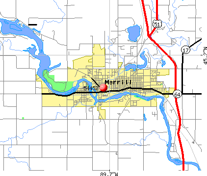 Merrill, WI (54452) map