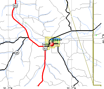 Blair, WI (54616) map