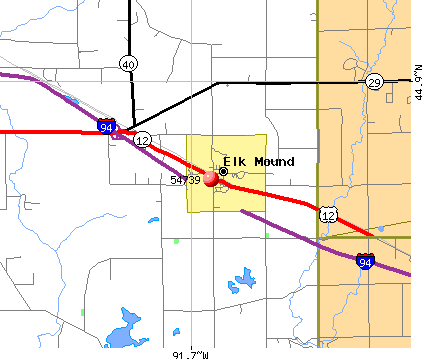 Elk Mound, WI (54739) map