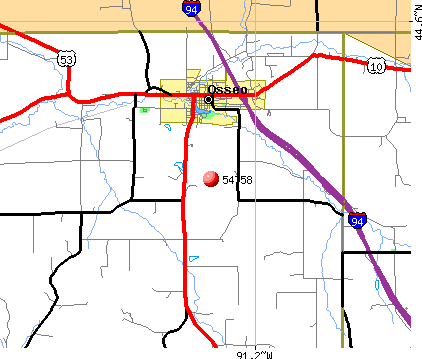Osseo, WI (54758) map