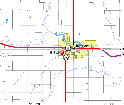 Barron, WI (54812) map