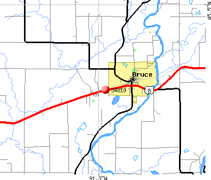 Bruce, WI (54819) map