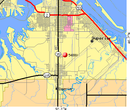 Superior, WI (54880) map