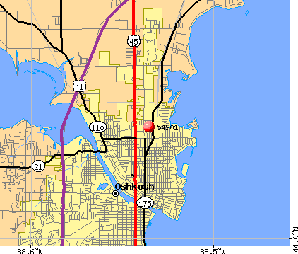 Oshkosh, WI (54901) map