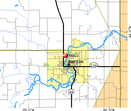 Berlin, WI (54923) map