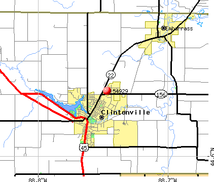 Clintonville, WI (54929) map