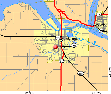 Hastings, MN (55033) map