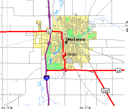 Owatonna, MN (55060) map