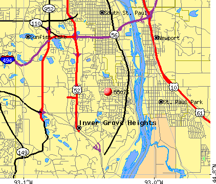 Inver Grove Heights, MN (55076) map