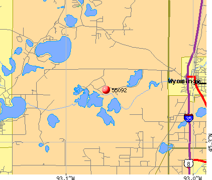 Wyoming, MN (55092) map