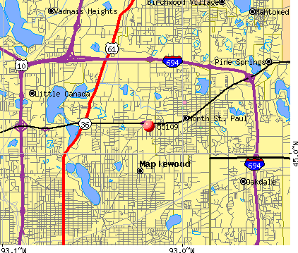 Maplewood, MN (55109) map