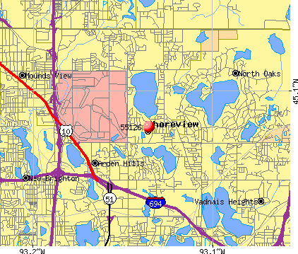 Shoreview, MN (55126) map