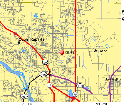Blaine, MN (55434) map