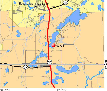 Eveleth, MN (55734) map