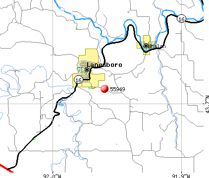 Lanesboro, MN (55949) map