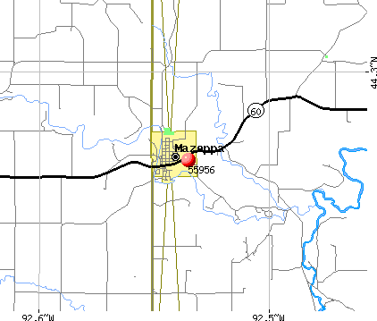 Mazeppa, MN (55956) map