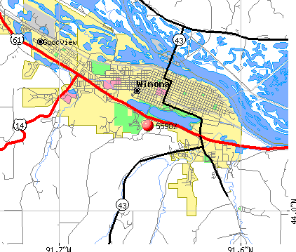 Winona, MN (55987) map